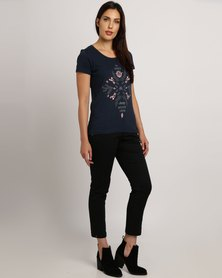 Jeep Scoop Neck Printed T-Shirt Navy