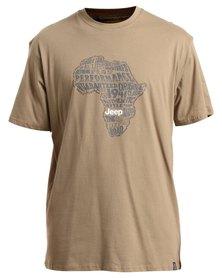 Jeep Short Sleeve Print T-Shirt Khaki