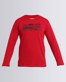 Jeep Long Sleeve Print T-Shirt Red