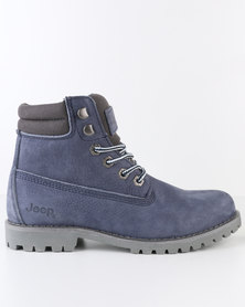 Jeep Garnet Leather Lace Up Boots Navy
