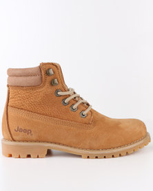 Jeep Garnet Leather Lace Up Boots Tan