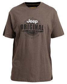 Jeep Short Sleeve Printed T-Shirt Brown