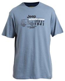 Jeep Short Sleeve Printed T-Shirt Blue