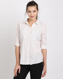 Jeep Cotton Cambric Stripe Embroidered Blouse