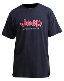 Jeep Short Sleeve Applique/Emb T-Shirt Navy