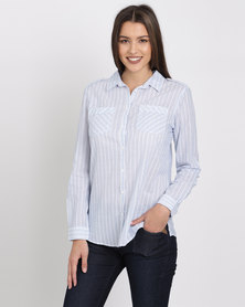 Jeep Cambric Stripe Roll Up Sleeve Blouse Blue/White