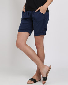 Jeep Peached Tencil Elasticated Rollup Shorts Navy