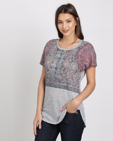 Jeep Linen-Look Knit Fashion Top Grey