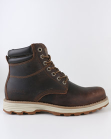 Jeep Austin Leather Casual Lace Up Ankle Boots Brown