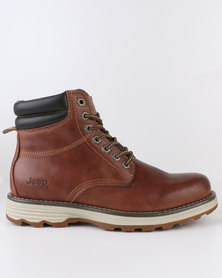 Jeep Austin Leather Casual Lace Up Ankle Boots Tan