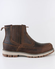 Jeep Boston Leather Casual Slip On Leather Boot Brown