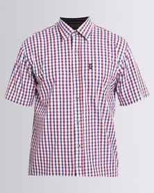 Jeep Short Sleeve Check Shirt Red
