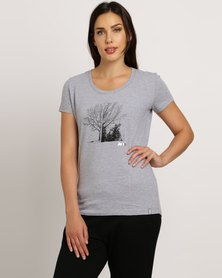 Jeep Scoop Neck Print & Foil T-Shirt Grey