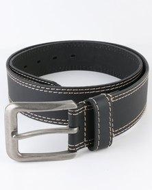 Jeep 40mm Leather Twin Needle Sticth Belt Black