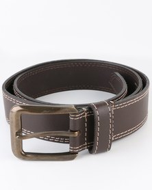 Jeep 40mm Leather Twin Needle Sticth Belt Brown