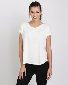 Jeep Spirit Knit Stripe Top With Embroidery Cream/Grey