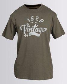 Jeep Spirit Short Sleeve Print T-Shirt Olive