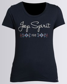 Jeep Spirit Scoop Neck Embroidered T-Shirt Navy