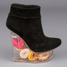 Jeffrey Campbell Icy Donut Platform Wedge Boots Black