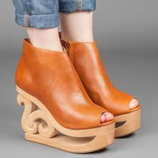 Jeffrey Campbell Skate Wooden Wedge Platform Tan