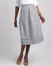 Jenja Pleat Skirt Ink/Milk Stripe