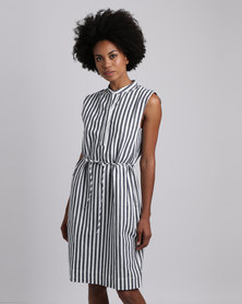 Jenja Sleeveless Shirt Dress Ink/Milk Stripe