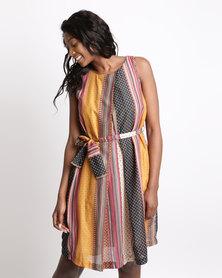Jenja Pleat Front Tie Dress Multi Stripe