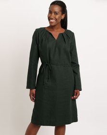 Jenja Pleat Neck Shift Dress With Tie Bottle Green