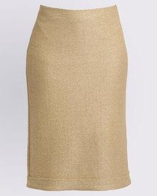 Jenja Weave Back Vent Skirt Biscuit