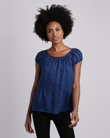 Jenja Pleat Blouse Blue