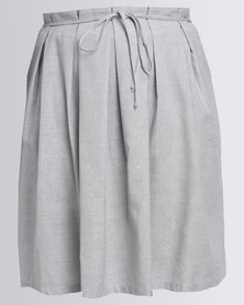 Jenja Pleat Front Skirt Ink Stripe Grey