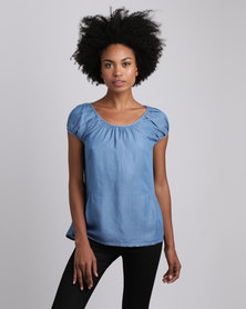 Jenja Pleat Blouse Sky Blue