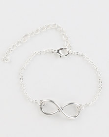 Jewels and Lace Infinity Bracelet Silver Tone
