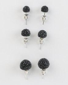 Jewels and Lace Rhinestone Triple Pack Earrings Black