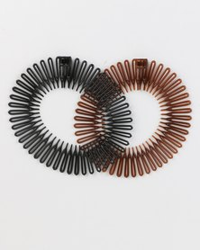 Jewels and Lace Accordion Hair Bands Twin Pack Brown/Black