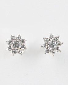 Jewels and Lace Rhinestone Stud Earrings Silver-tone