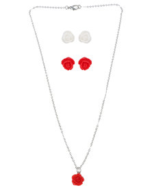 Jewels and Lace Rose Pendant Necklace and Matching Earrings Red