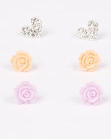 Jewels & Lace 3 Pack Heart & Rose Earring Set Multi