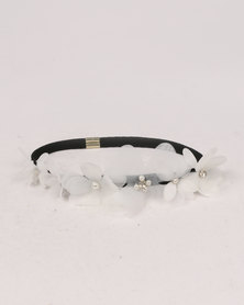 Jewels & Lace Laser-Cut Flower Headband White/Black
