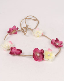 Jewels & Lace Flower Headband Multi