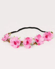 Jewels & Lace Floral Headband Dark Pink