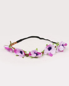 Jewels & Lace Floral Headband Purple