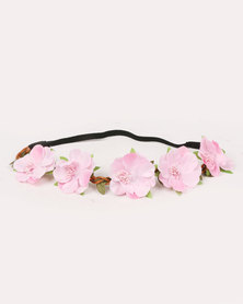 Jewels & Lace Floral Headband Pink