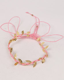 Jewels & Lace 2 Pack Plaited Leaf & Bow Headband Set Pink