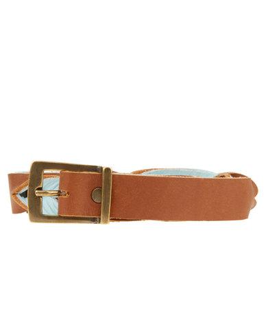 Jinger Jack Twisted Leather Skinny Belt Tan Ice Blue