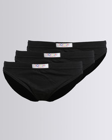 Jockey 3PK Plain Boys Skants Black