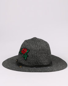 Joy Collectables  Rose Detailed Straw Hat Grey
