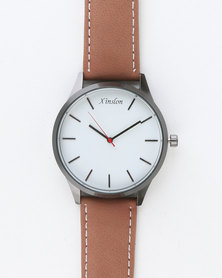 Joy Collectables Mens Watch With Stitching Strap Brown