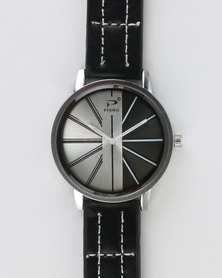 Joy Collectables Mens Watch With Stitching Strap Black