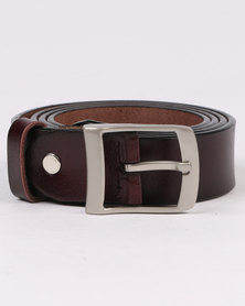Joy Collectables Skinny Leather Belt Brown